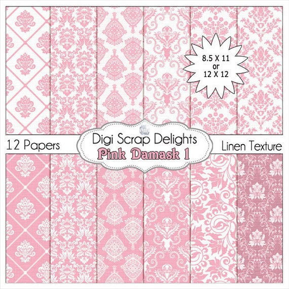 50% OFF - Damask Digital Papers in Pink for Photo Backdrops, Paper Crafts, and Digital Scrapbooking, Instant Download