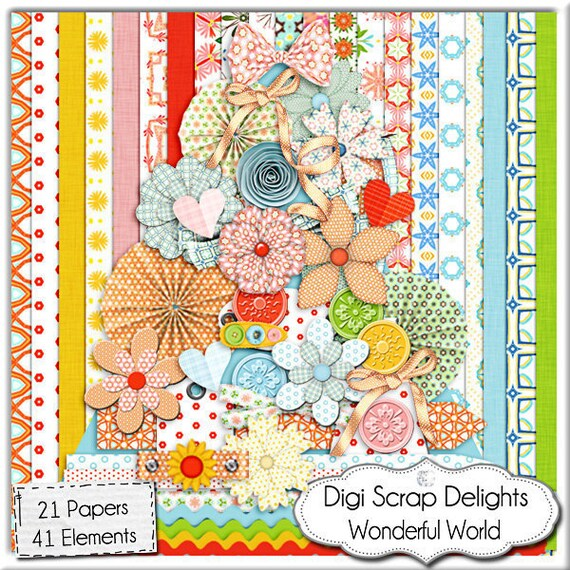 Digital Scrapbooki Kit - Wonderful World  in  Red, Orange, Pink, Green. Digital Papers, Digital Clip Art, Instant Download