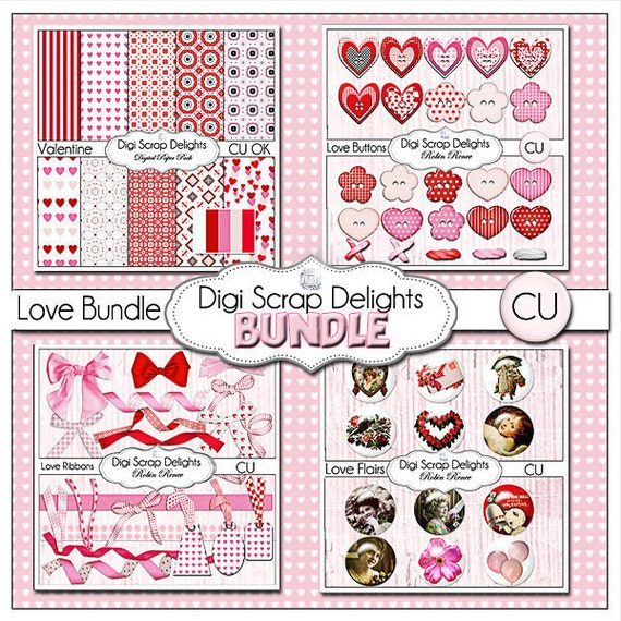 Valentine Clip Art, Pink & Red Digital Scrapbook Kit - Papers, Ribbons, Bows, Buttons, Tags Heart Clip Art, Instant Download