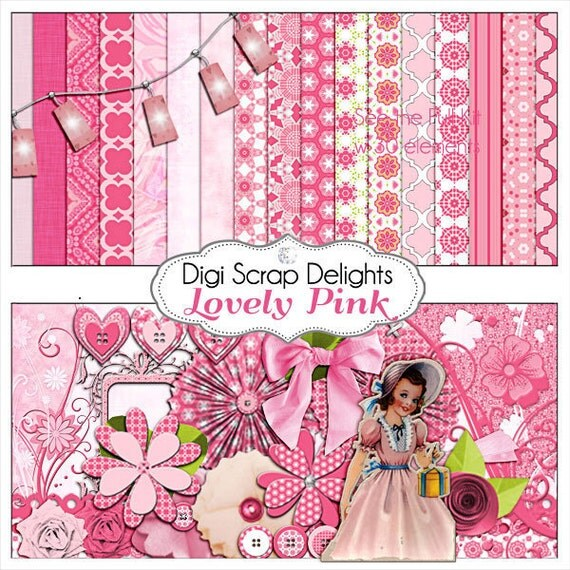 Lovely Pink Digital Scrapbook Kit, Instant Download, for Cards, Invites, Girl Birthday, Digital Scrapbook