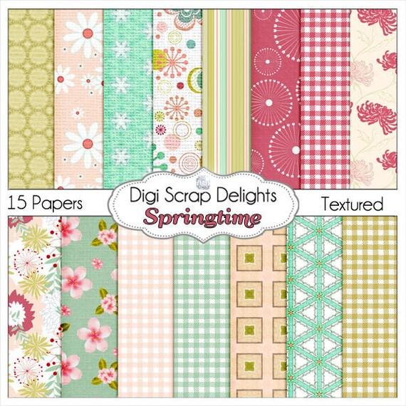 Springtime Digital Scrapbook Paper: Pink and Green, Floral Papers for Digital Scrapbooking, Card Making, Crafts, Instant Download