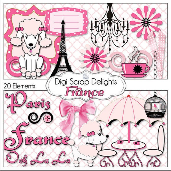 France digital clip art element pack pink black french - Magasin de scrapbooking paris ...