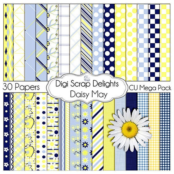 Digital Scrapbooking: Daisy May Digital Paper (Blue and Yellow Mega Pack), Instant Download