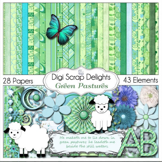 Green Pastures Digital Scrapbook Kit in Blue and Green with Sheep or Lamb Clip Art, Instant Download