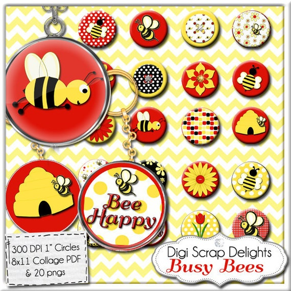 Bee Digital Collage Sheet - One Inch Circles for Red, Yellow, Black  Pendants, Magnets, Charm Bracelets, Jewelry, Instant Download
