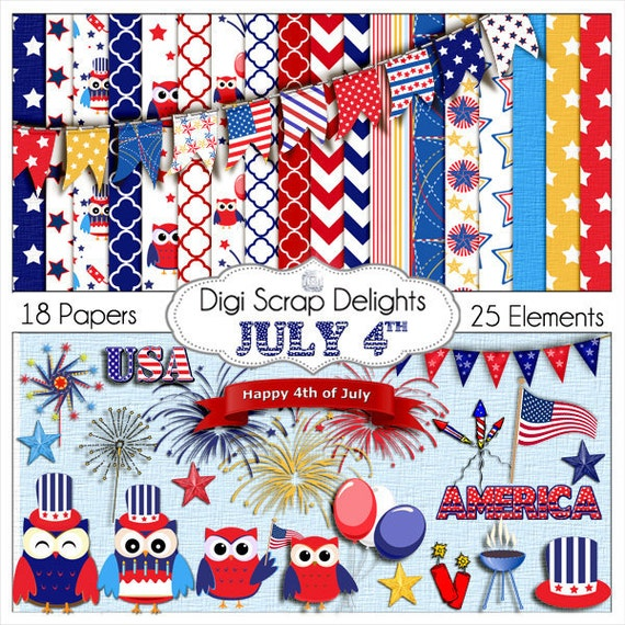 July 4 Clip Art Digital Scrapbook Kit in Red, White & Blue Owls, America, Flag, Patriotic, 4th of July, BBQ, Sparklers, Instant Download