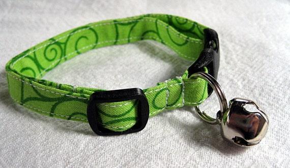 Bright Green Cat Collar with Dark Green Swirl Print