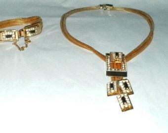 Vintage Necklace Bracelet Set Gold Tone Parure Mesh Rhinestones Clear Black Costume Jewelry