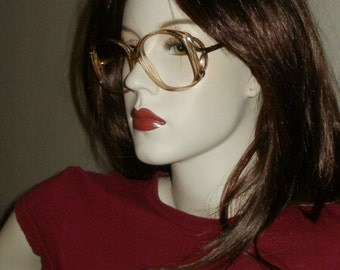 Vintage Two Tone Plastic Eye Glass Frames with Gold Trim and Arms Original Lenses Included