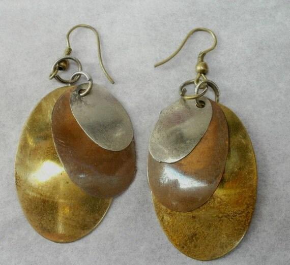 Mod Hippie Dangle Earrings Brass Copper Metal Moving Action for Pierced Ears