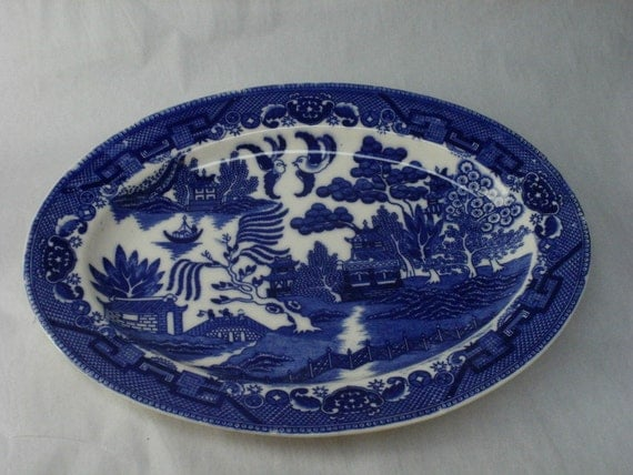 Decorating With Blue And White China: Blue And White Porcelain Serving Tray Platter Japanese Blue