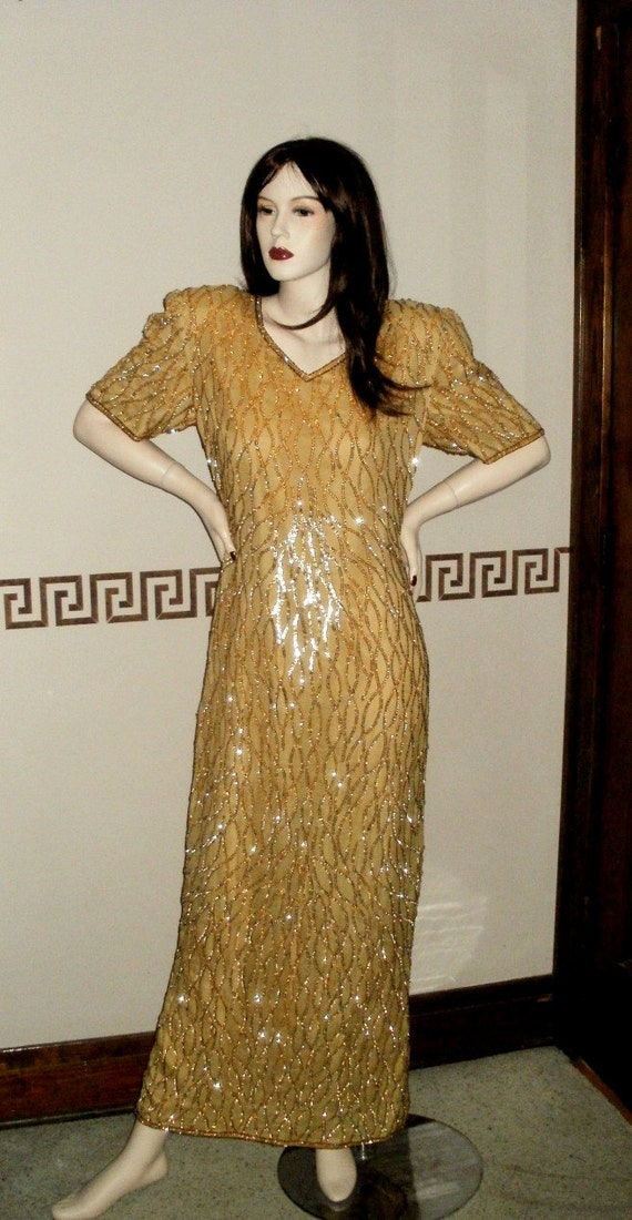 Vintage Sequin Dress Gown Gold Maxi Long Beads Mark & John by Sam Cocktail Party