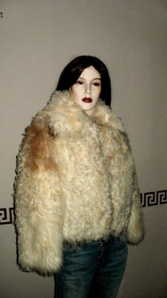 Vintage Curly Lamb Fur Coat Jacket Neiman Marcus Cream Brown