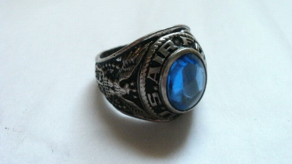 Sterling Silver 1947 U.S. Air Force Ring Vintage Class Blue Stone Crest Craft size 8