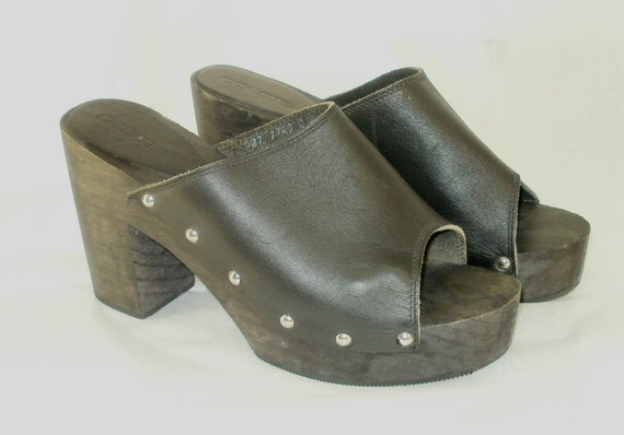 Vintage Open Toe Clogs Black Leather Wood Size 10 Mexico