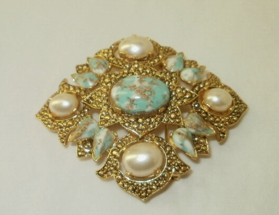 Signed Sarah Coventry Large Costume Jewelry Diamond Brooch Pearl Turquoise Book Piece