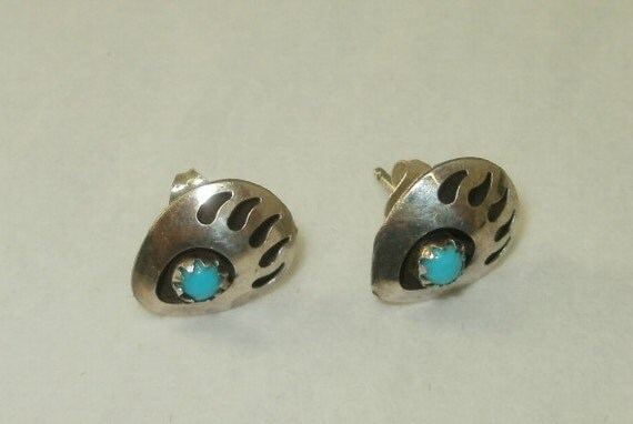 Sterling Silver and Turquoise Bear Paw Earrings for Pierced Ears Native American