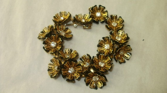 Vintage Gold and Black Bracelet with Clear Rhinestones Flowers Floral