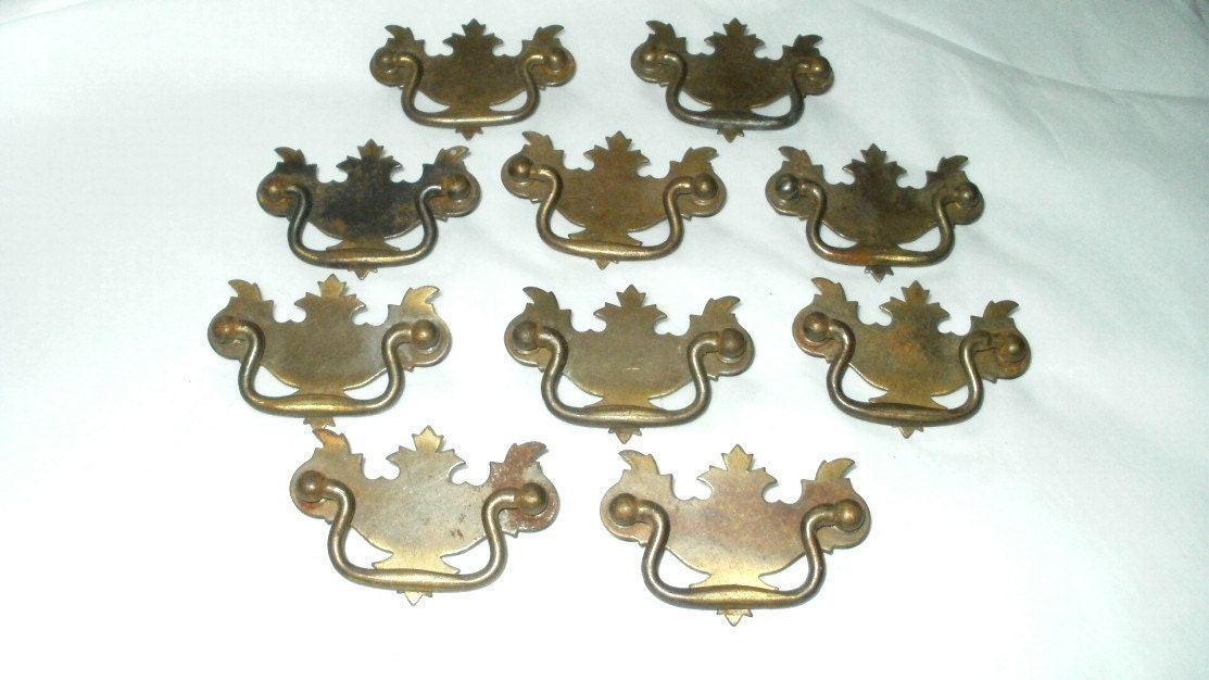 Set Of Ten Antique Dresser Drawer Pulls Matching Hardware
