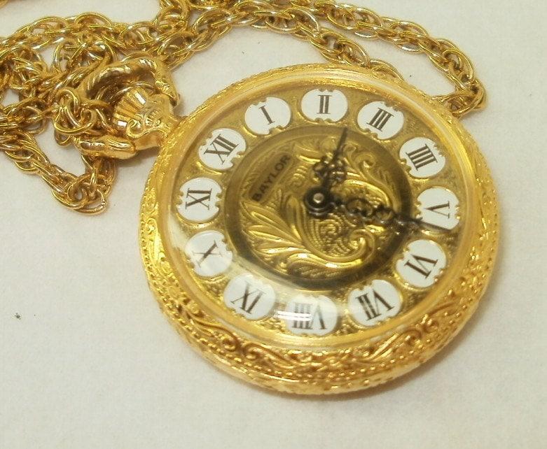 Baylor 17 Jewel Ladies Pocket Watch Pendant On Chain Clean
