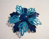 Vintage 1970s Enamel Flower Pin  - Retro Brooch in Navy and Turquoise - Womens Jewelry - Womens Accessories
