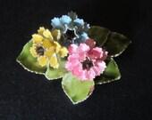 Vintage Enamel Flower Pin - Gold Tone - Yellow Blue Pink Green Enamel - Cottage Chic - Vintage Fashion Accessory
