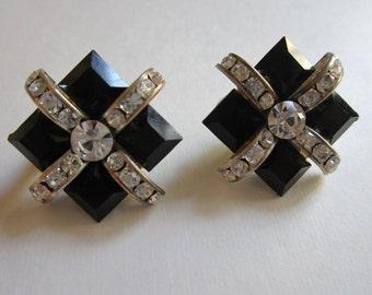Vintage Rhinestone Earrings - Black Glass and Rhinestone Clip On Earrings - Art Deco Style - Womens Fashion Jewelry