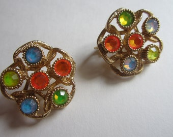 Vintage Sarah Coventry Earrings - Moon Lites in Gold Tone Setting - Colored Rhinestones - Spring Summer Jewelry -