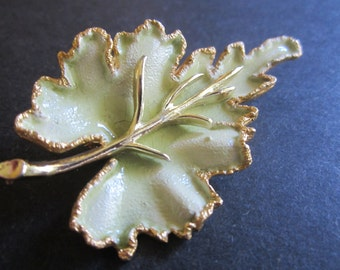 Vintage BSK Leaf Brooch - Celery Green and Gold Enamel - Womens Fashion Accessory - Womens Spring Jewelry