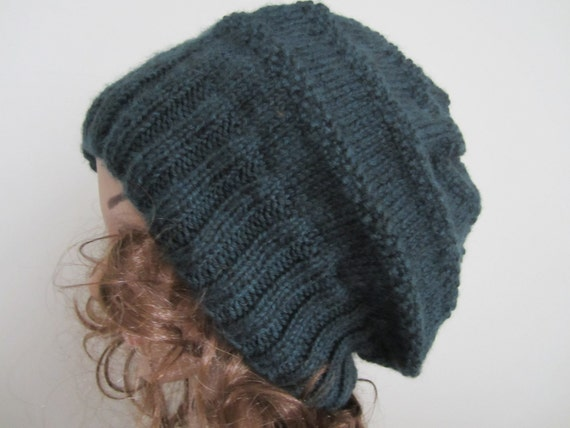 Hand Knit Hat - Sea Green Slouchy Hat - Extra Slouchy Winter Accessory - Winter Fashion   Sea Green Slouchy Hat