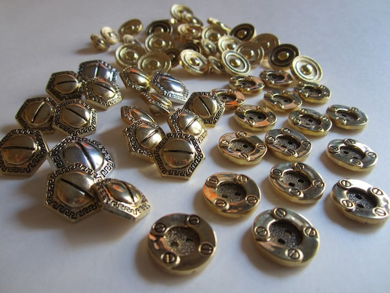 60 Hexagon and Round Buttons - Retro Gold and Silver Metal Look Buttons - Supplies for Knitting Crocheting Crafting