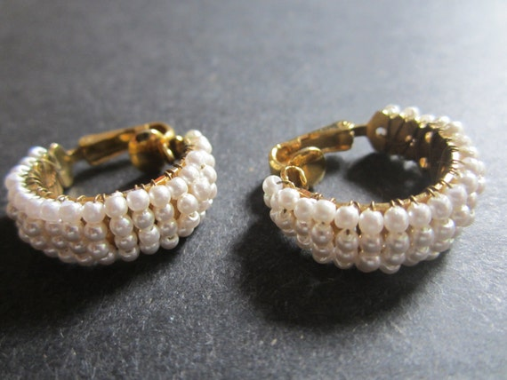 Vintage Faux Pearl Hoop Earrings - Clip Style Gold Tone and Faux Pearls - Vintage Fashion - Womens Accessory - Prom  Bridal Fashion