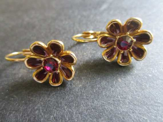 SALE ~Vintage Flower Earrings - Retro Joan Rivers Pierced Earrings - Rhinestone Jewelry - Crimson Enamel On Gold Tone -