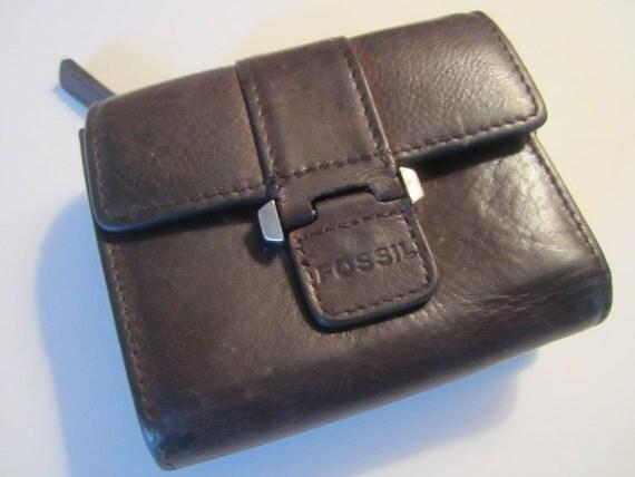 Vintage Fossil Wallet - Brown Leather Wallet - Retro Wallet - Vintage Accessories