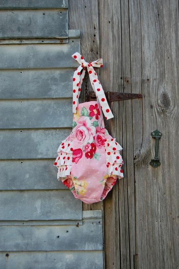 Pink and Red Polkadot Shabby Chic Ruffled Baby Girl Retro Sunsuit Romper 0-3mo 3-6mo 6-12mo 12-18mo 18-24mo