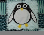 Blue White Black Penguin, Rag Quilt, 40x60