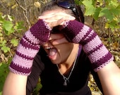 Fingerless Gloves Plum and Lilac Available Any Color READY tO SHIP