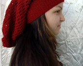 Dark Red/ Garnet Cozy Hat Slouchy Beanie Rasta Barrette Crochet READY to SHIP Available Colors