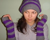 Fingerless Gloves Dark Grey and Light Purple Available Any Color Ready To Ship