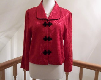 Vintage Jacket Holiday Red with Black Trim--size 12 petite