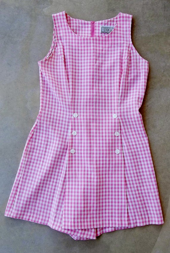 Romper of Pink and White Gingham Vintage Summer Sleeveless One Piece--junior size 8/9
