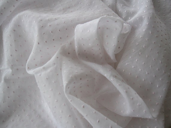 Dotted Swiss Batiste, White with Pale Pink Dots,  1 Yard