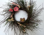 READY TO SHIP Springtime owl wreath upcycled and hand knit