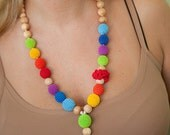 Crochet nursing necklace -  Breastfeeding necklace  - slinging moms accessory - rainbow