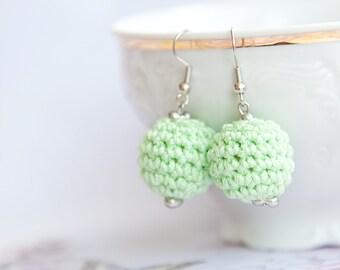 Mint Green crochet earrings