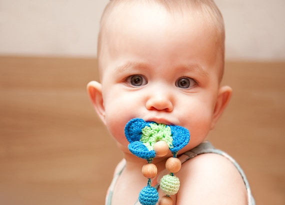 Blue Green Nursing Breastfeeding necklace - teething toy - Teething Necklace - Breastfeeding necklace