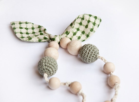 Teething Necklace - Nursing necklace - nursing mom necklaces - linen bow