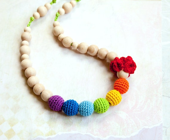 SALE Rainbow nursing necklace -  Sling Accessory -  teething necklace - mommy necklace