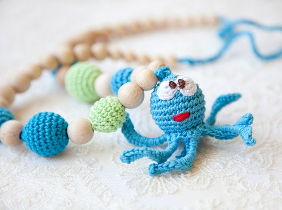 Octopus - Mommy / Teething Necklace - Nursing Necklace - wooden toy - waldorf toy -  Wrap Baby Carrier Sling Accessory