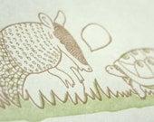 The Armadillo and the Turtle Letterpress Card (Single)